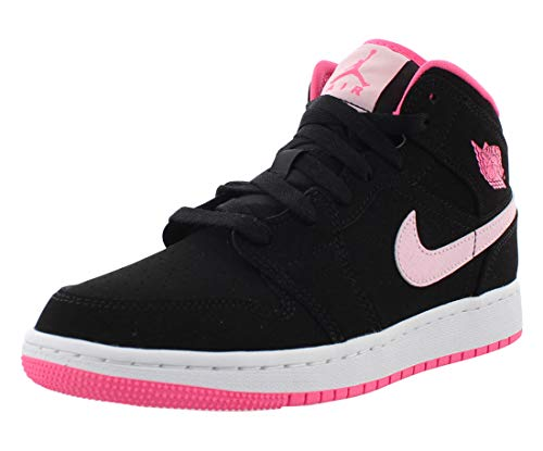 Jordan Air 1 Mid, Running Shoe Girls, Negro/Pink Foam/Digital Pink/Blanco, 37.5 EU