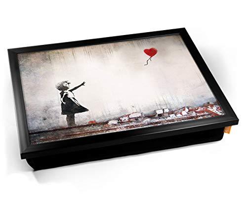 Banksy Heart Balloon Cushion Lap Tray Cojín Bandeja de Regazo