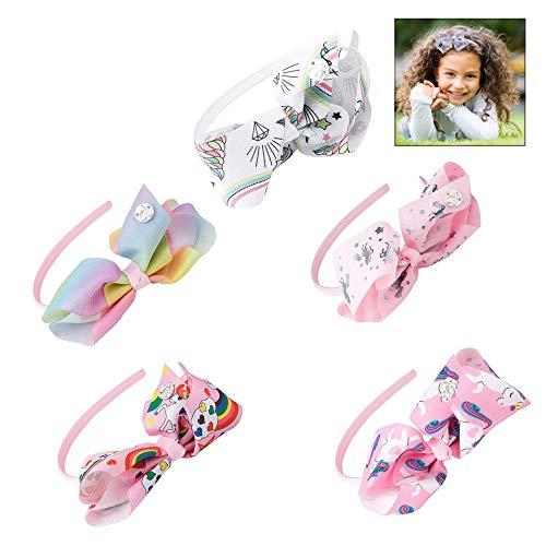 iPobie Haarreif mit Schleife, 5 Stück Einhorn Haarband Bogen Stirnbänder für Frauen Mädchen Haar Schmuck