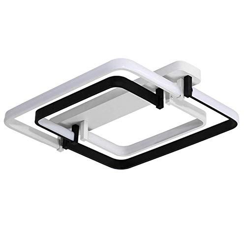OOFAY TAPS LED Plafonnier Abat-Jour en Acrylique Salon Restaurant Éclairage De La Chambre Carré Style Moderne Simple avec Télécommande Dimmable Noir 45 * 45Cm,Warmlight45*45 * 13Cm