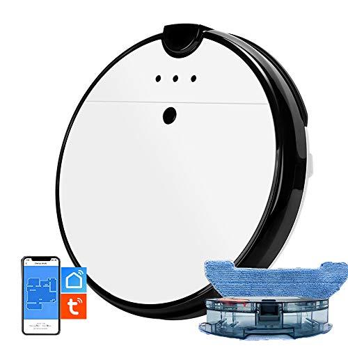 IOSICAM Aspirador Robot Lavadora, Aspirador y Vadroja, 2 en 1, APP'TUYA SMART LIFE', Compatible con Alexa, Alimentación automática, Potente aspiración de 1800 PA, limpieza personalizada