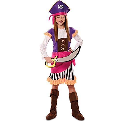 EUROCARNAVALES Kinder Kostüm Seeräuberin Merle Sebelrost L (7-9 Jahre) pink lila Piratin Fasching Karneval