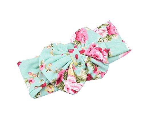Da. WA stretch Floral Bow Bandeau élastique Tie Impression Bandeau Cheveux Chips Headwear vert Green taille unique