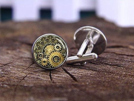 Steampunk-Manschettenknöpfe, Uhr Manschettenknöpfe, Zahnrad-Manschettenknöpfe, Vintage gestreift, Schweizer Uhr, Uhrwerk, Steampunk-Vintage-Design, Geschenk