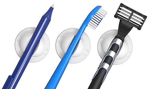Schneider Klick-Fix Universalhalter (Selbstklebende Halterung für z.B. Zahnbürsten, Rasierer, Kabel, Stifte uvm. bis max. 150g) 3er Set weiß