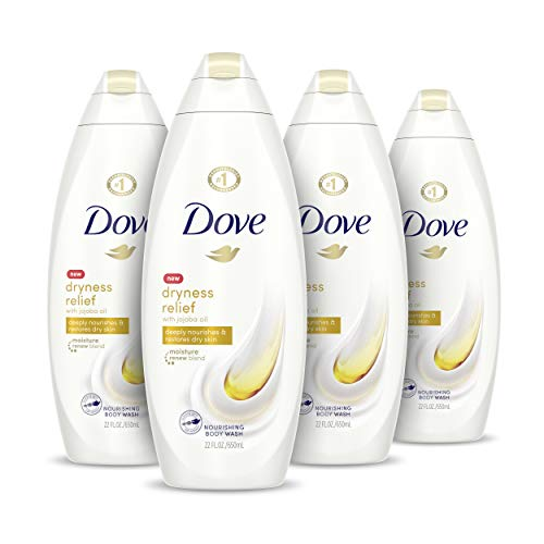 Dove Body Wash for Dry Skin Dryness Relief Effectively Washes Away Bacteria While Nourishing Your Skin 22 oz, 4 Count