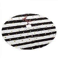 インクとゴールドドットストライプクリスマスツリースカートメリークリスマスツリー、クリスマスの装飾のためのツリースカートお祝いの休日の装飾36インチ