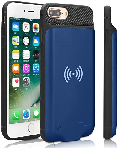 3800mAh Portable Wireless Charging Battery Extra Battery External Battery Case Battery Rechargeable Power Bank Battery Case for iPhone 8//7 6 Blue Qi Battery Case for iPhone 6 6S 7 8 6S