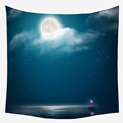 Meer Mond, beleuchteter Druck, Tapisserie, Dekoration für Haus, Schlafzimmer, Wohnzimmer, Landschaft, Tapisserie, Wand, Kopfteil, Hintergrund, Dekoration, 150 x 230 cm