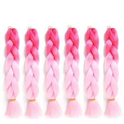 6 Packs Eunice Hair Jumbo Flechten Hair Extensions Colorful Kunsthaar Kanekalon Haar für Heimwerker Crochet Box Zöpfe Ombre Pink 2 Tone Color 100 g/pcs 61 cm (ombre pink)