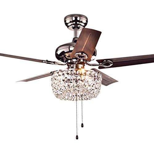 YS & VV 42 inch plafondventilator met LED-licht, E14 * 3 12W stille lamp plafondlamp kroonluchter verlichting hanglampen, voor slaapkamer, woonkamer, restaurant, 3 ABS-lemmet, met trekschakelaar