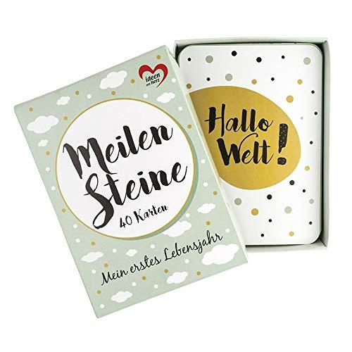 Meilensteinkarten Baby | 40 Stück | 10,5 cm x 14,8 | Ereigniskarten | Für Mädchen & Jungen | Modernes Design | Mint | inkl. Geschenkbox