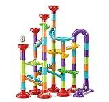 Marble Run Building Blocks STEM Toy Track Race Maze 30 Glass Marbles for Kids Boys Girls 3 4 5 6 7 8 9 10 11 12 Year Old Birthday Present Preshool Gift