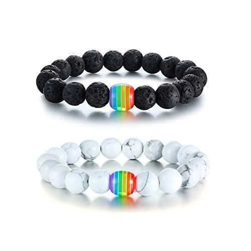 VNOX Handmade Gay Lesbian Pride Rainbow Relationship Bracelet Distance Bead Bracelets for Gay Lesibian Couples,Set of 2