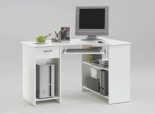 Eckschreibtisch in weiß mit 1 Schubkasten, 2 offenen Ablagefächern, Tastaturauszug und Computerstellfach, Maße: B/H/T ca. 118/76/77 cm