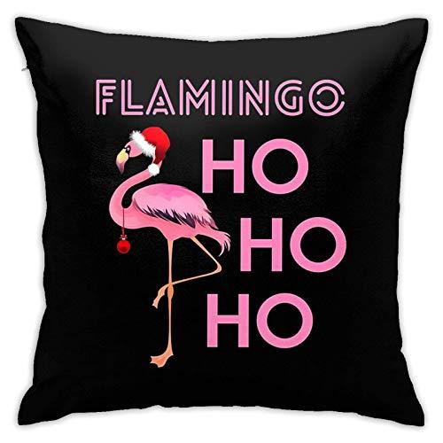 N \ A Funda de cojín con diseño de sombrero de Papá Noel y flamenco, fundas de almohada, fundas de almohada, fundas de almohada para sofá, decoración del hogar, 18 x 18 pulgadas, 45 cm