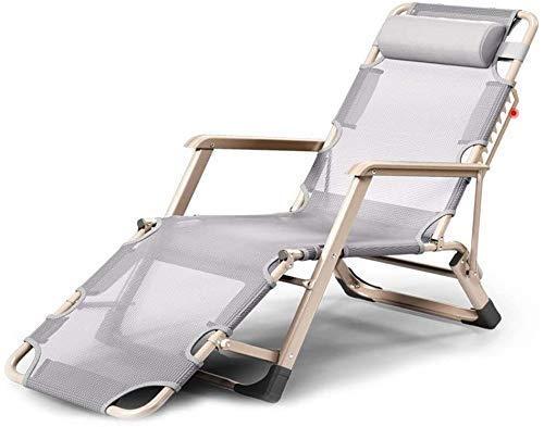PARTAS Patio Silla Silla Chaise Lounge Plegable Sillón Sillón Almuerzo Silla Silla Oficina Cama Respaldo Lazy Beach Silla Casual Cama Plegable (Color : A)