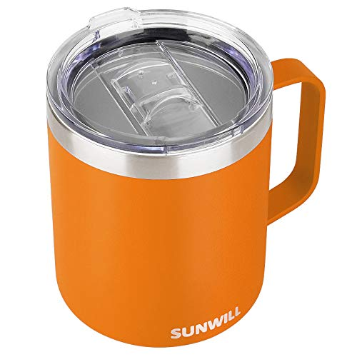 SUNWILL Insulated Coffee Mug with Handle, 14oz Stainless Steel Togo Coffee Travel Mug, Reusable and Durable Double Wall Coffee Cup, Powder Coated Orange