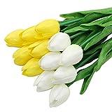 Olrla 12 Pezzi Rosa Tulipani Artificiali Fiori, Tulipani in Lattice Finto per Decorazioni per Feste Fai da Te per Matrimoni (Giallo + Bianco)