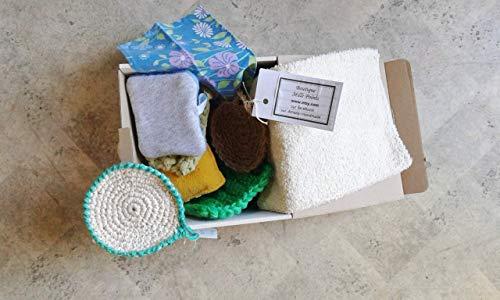 BOX DECOUVERTE ZERO DECHET pour toilette et le bain/box zéro déchet, éponge zéro déchet, éponges éco-responsable, démarche écologique, démarche zéro déchet