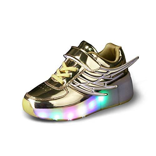 WERTYUH Unisex Recargable Led Luz Automática De Skate Zapatillas con Ruedas Zapatos Patines Deportes Zapatos para Niños Niñas,Gold-36