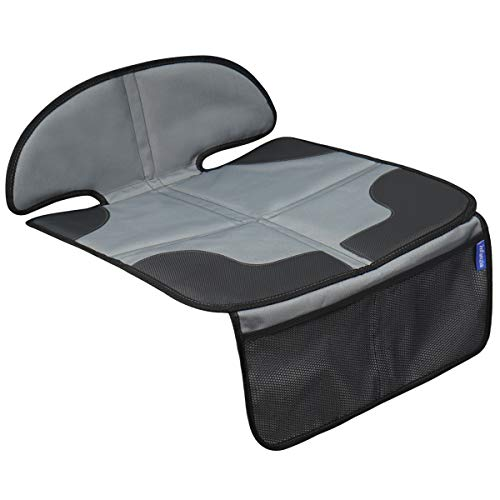 INFANZIA Car Seat Protector with Thickest Padding - Auto Seat Cover Mat for Baby Child Car Seats, Waterproof 300D Fabric, PVC Leather Reinforced Corners & 2 Large Pockets for Handy Storage, Gray