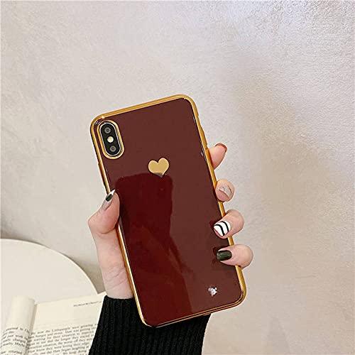 Funda para teléfono Love Heart para iPhone 12 Pro MAX XR XSMax 7 8 6s X Funda Trasera Verde de TPU Suave galvanizada a Prueba de Golpes para iPhone 11, Rojo Vino, 12 Pro (6.1)