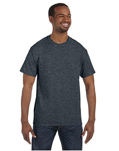 Jerzees T-shirt col rond pour homme Noir chiné Taille XL