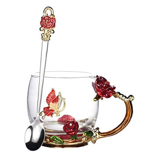 LAANCOO Taza de té Esmalte de Cristal con la Cuchara Conjunto de café Flor de Mariposa Claro manija para los Regalos de cumpleaños del día de Boda
