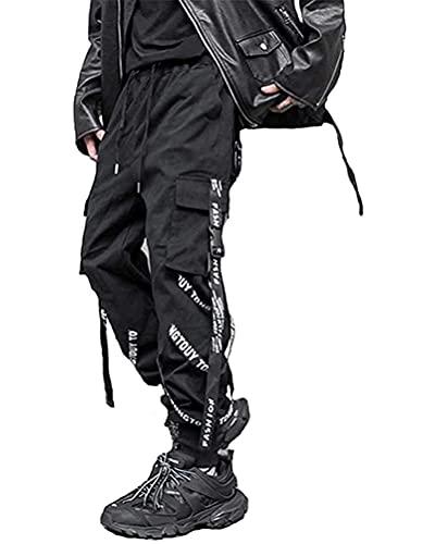 ORANDESIGNE Herren Hip Hop Jogger Cargo Pants Techwear Hosen Baggy Streetwear Punk Hose B Schwarz L