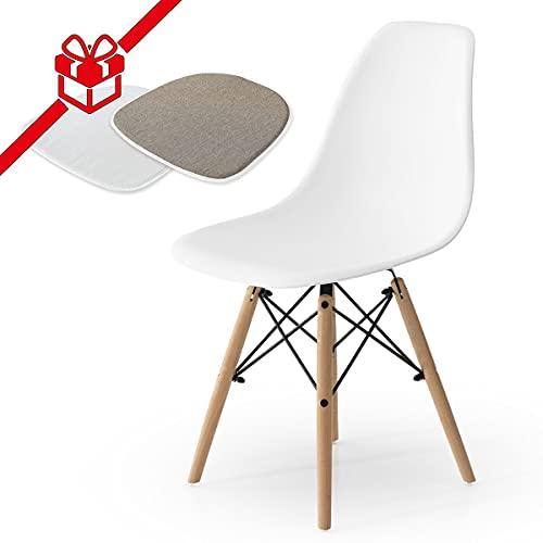 Sillas De Cocina Pack 4 Blancas sillas de cocina pack 4  Marca COMIFORT
