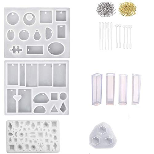 Silicone Resin Moulds Jewelry Resin Casting Molds for Jewellery Making Epoxy Resin Casting Kit DIY for Resin Jewellery Soap Dried Flower Leaf Sphere Diamond and Many Different Shapes 229PCS