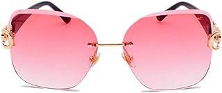 DovSnnx - DovSnnx Gafas De Sol Unisex para Hombres Y Mujers Polarizadas Protección 100% Uv400 Clásico Vintage Moda Sunglasses Lentes Rosas con Montura De Diamantes Y Oro