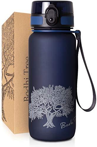 Bodhi Tree Trinkflasche - Getränke Flasche - Auslaufsicher, Leicht - mit Filter und Gurt - BPA frei - Sportflasche für Fitness, Sport, Schule - Einfache Reinigung - Geruchlos - 1l/650ml - Blau