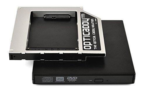 OPTI Caddy© SATA-3HDD/SSD Caddy Universal 12.7mm SATA a SATA adaptador Kit con caja USB externa para unidad óptica con tecnología Opticaddy OptiSpeed (Original Opti Caddy disco duro marco, marco de montaje, adaptador de Juego)
