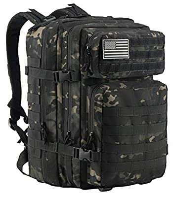 Luckin Packin Tactical Backpack,Military Backpack,Molle Bag Rucksack Pack,45 Liter Large Black