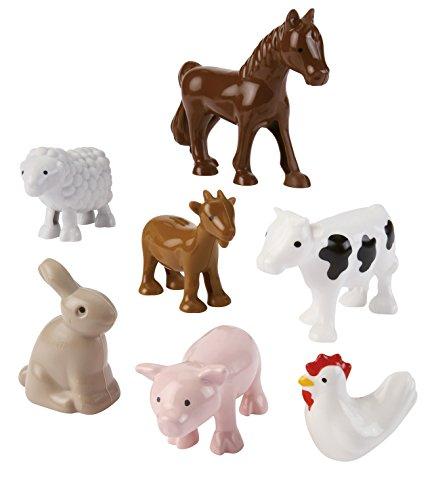 Jouets Ecoiffier – 3249 - Les animaux de la ferme Abrick – Jeu de construction pour enfants – 7 pièces – Dès 18 mois – Fabriqué en France
