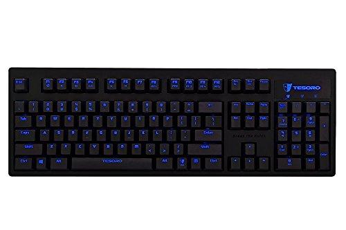 Tesoro Excalibur Mechanische Gaming Tastatur Schwarz QWERTZ Deutsches Tastaturlayout mit Kailh Brown Switches und Blauer Beleuchtung