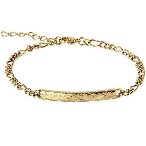 14K Gold Plated Hawaiian Bracelet by Austaras - Shiny Stainless Steel Hawaiian Jewelry with Adjustable Chain and Hawaiian Surfer Style Hibiscus Flower Charm