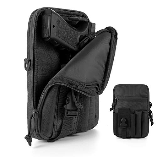 Concealed Pistol Pouch Multipurpose Carry Gun Bag - LarKoo Waist Molle Bag Fanny Pack with Pistol Holster in 9 inch Length and Phone Belt Clip Holder for Less Than 7 inches Smartphone (Black)…