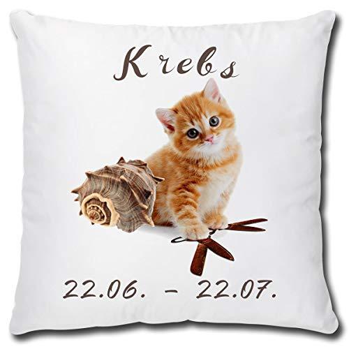 TRIOSK Kissen Katzenmotiv Sternzeichen Krebs Dekokissen lustig mit Katze Geschenk für Katzenliebhaber Frauen Mädchen Kinder Zierkissen Füllung 40x40 Weiß Beige