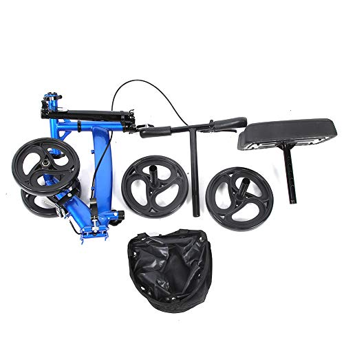 FTVOGUE- Verstellbare Lenkbarer Knie Scooter Knie-Rollator mit Bremsen und Korb Fußverletzung Wiederherstellung Knie Walker für Person 4ft 9in - 6ft 6in, Belastung 300 lbs