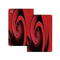 iPad Pro 11 ケース 2020 ローズ、極端なクローズアップ赤いバラの花の渦巻く渦巻き花びら自然のテーマ、朱色の黒の花びら ローズ [Apple Pencil 2 ワイヤレス充電対応] 軽量 き イッピー りスマートケース iPad Pro 11インチ 2020用ハード背面カバー 朱色の黒の花びら