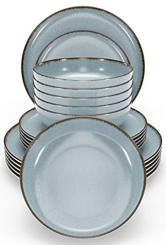 Pure Living - Vajilla para 6 personas (18 piezas, diseño rústico moderno, color azul, apta para lavavajillas, cuenco y platos, vajilla de porcelana para 6 personas)