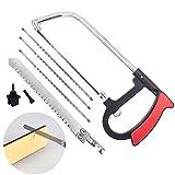 Mini sierra de mano con 6 cuchillas de acero para cortar madera, plástico, vidrio, azulejos, metal, tubo de PVC, goma