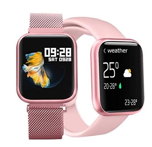 Relógio Smartwatch P80 com 2 Pulseiras (Aço/Silicone) Pretas