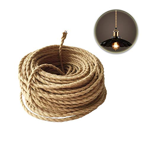 GreenSun LED Lighting 5m 2 adrig,0,75mm² Textilkabel Twisted Stromkabel Kabel Draht Elektrische Mantel Leitung Geflochtene Stoffkabel Leinen Linie DIY Zubehör für Leuchte Lampe