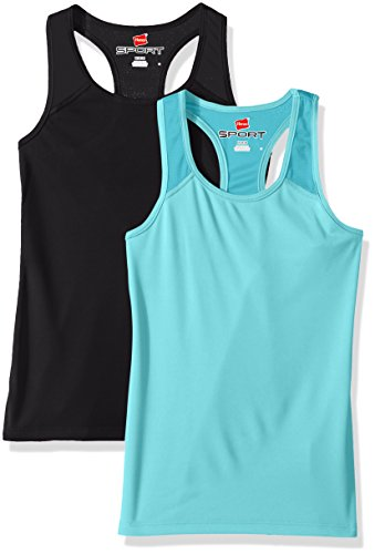 Hanes Big Girls' Sport Performance Racerback Tank (Pack of 2), Turquoise Mint/Black, L