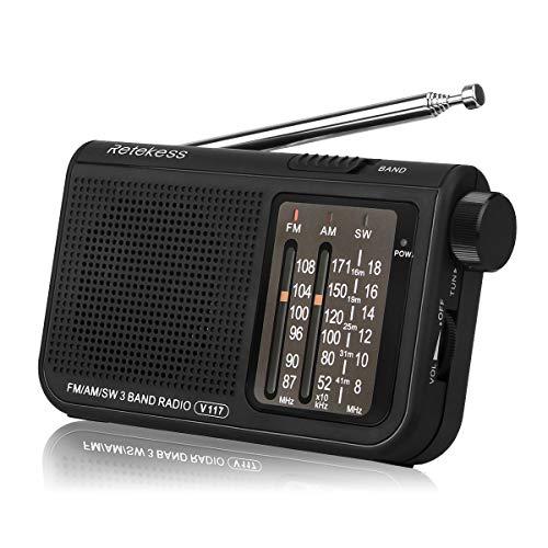 Retekess V117 Tragbares Radio FM AM SW Taschenradio Einfaches Portable Radio Mini Notfallradio mit Zylindertyp-Einstellknopf (schwarz)