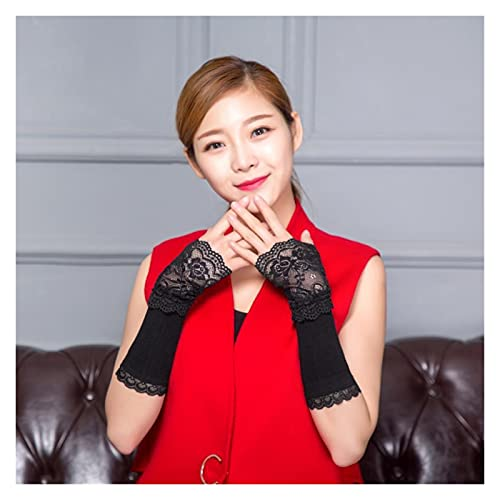 GUYANMAY Lace Gloves Spring Autumn Arm Warmers for Women Hand Warmer Black Lace Cuff Cotton Fingerless Long Gloves Lace Arm Sleeve Arm Warmer (Color : Black, Gloves Size : Free Size)